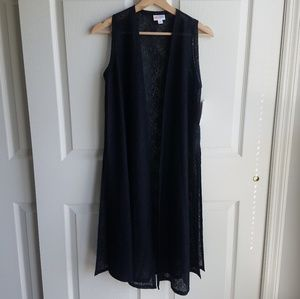 NWT Lularoe Black Lace Joy Duster Vest Size XS